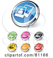 Royalty Free RF Clipart Illustration Of A Digital Collage Of Shiny Colored And Chrome Polaroid Picture Website Buttons