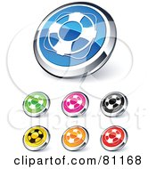 Royalty Free RF Clipart Illustration Of A Digital Collage Of Shiny Colored And Chrome Life Buoy Website Buttons