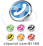 Digital Collage Of Shiny Colored And Chrome Phone Website Buttons