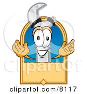 Clipart Picture Of A Wrench Mascot Cartoon Character With A Blank Tan Label