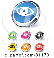Digital Collage Of Shiny Colored And Chrome Eye Website Buttons