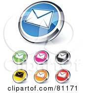 Digital Collage Of Shiny Colored And Chrome Envelope Website Buttons