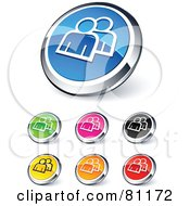 Digital Collage Of Shiny Colored And Chrome Messenger Website Buttons