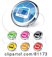 Digital Collage Of Shiny Colored And Chrome TV Website Buttons