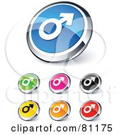 Digital Collage Of Shiny Colored And Chrome Male Website Buttons