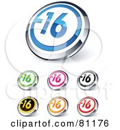 Digital Collage Of Shiny Colored And Chrome Negative 16 Website Buttons