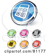 Royalty Free RF Clipart Illustration Of A Digital Collage Of Shiny Colored And Chrome Calculator Website Buttons