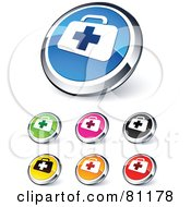 Digital Collage Of Shiny Colored And Chrome First Aid Website Buttons