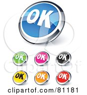 Digital Collage Of Shiny Colored And Chrome OK Website Buttons