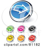 Digital Collage Of Shiny Colored And Chrome Right Arrow Website Buttons