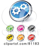 Royalty Free RF Clipart Illustration Of A Digital Collage Of Shiny Colored And Chrome Gear Website Buttons by beboy