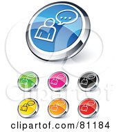 Royalty Free RF Clipart Illustration Of A Digital Collage Of Shiny Colored And Chrome Chatting Website Buttons by beboy