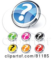 Digital Collage Of Shiny Colored And Chrome Question Mark Website Buttons