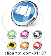 Digital Collage Of Shiny Colored And Chrome Luggage Website Buttons