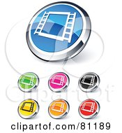Royalty Free RF Clipart Illustration Of A Digital Collage Of Shiny Colored And Chrome Film Strip Website Buttons