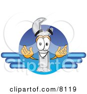 Clipart Picture Of A Wrench Mascot Cartoon Character Logo