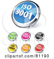 Digital Collage Of Shiny Colored And Chrome ISO 9001 Website Buttons