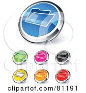 Digital Collage Of Shiny Colored And Chrome Folder Website Buttons