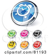 Royalty Free RF Clipart Illustration Of A Digital Collage Of Shiny Colored And Chrome Alarm Clock Website Buttons
