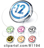 Digital Collage Of Shiny Colored And Chrome Negative 12 Website Buttons
