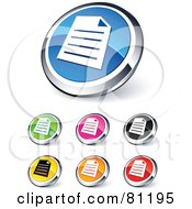 Digital Collage Of Shiny Colored And Chrome Document Website Buttons
