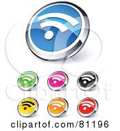 Royalty Free RF Clipart Illustration Of A Digital Collage Of Shiny Colored And Chrome RSS Website Buttons