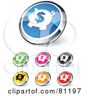 Royalty Free RF Clipart Illustration Of A Digital Collage Of Shiny Colored And Chrome Dollar Piggy Bank Website Buttons