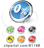 Royalty Free RF Clipart Illustration Of A Digital Collage Of Shiny Colored And Chrome Zero Percent Website Buttons