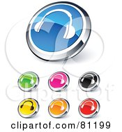 Digital Collage Of Shiny Colored And Chrome Headphones Website Buttons