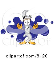 Clipart Picture Of A Wrench Mascot Cartoon Character Logo With A Paint Splatter