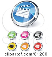 Royalty Free RF Clipart Illustration Of A Digital Collage Of Shiny Colored And Chrome Clapper Board Website Buttons