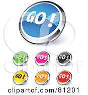 Digital Collage Of Shiny Colored And Chrome Go Website Buttons
