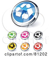 Digital Collage Of Shiny Colored And Chrome Recycle Website Buttons