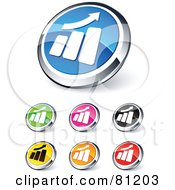 Royalty Free RF Clipart Illustration Of A Digital Collage Of Shiny Colored And Chrome Bar Graph Website Buttons