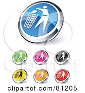 Royalty Free RF Clipart Illustration Of A Digital Collage Of Shiny Colored And Chrome Garbage Website Buttons by beboy