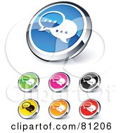 Royalty Free RF Clipart Illustration Of A Digital Collage Of Shiny Colored And Chrome Instant Messenger Website Buttons by beboy