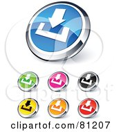 Royalty Free RF Clipart Illustration Of A Digital Collage Of Shiny Colored And Chrome Download Website Buttons