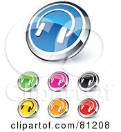 Digital Collage Of Shiny Colored And Chrome Simple Headphones Website Buttons