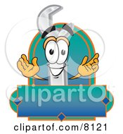 Clipart Picture Of A Wrench Mascot Cartoon Character With A Blank Label