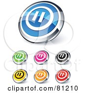 Royalty Free RF Clipart Illustration Of A Digital Collage Of Shiny Colored And Chrome Pause Website Buttons