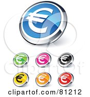 Royalty Free RF Clipart Illustration Of A Digital Collage Of Shiny Colored And Chrome Euro Financial Website Buttons