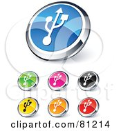 Royalty Free RF Clipart Illustration Of A Digital Collage Of Shiny Colored And Chrome USB Website Buttons