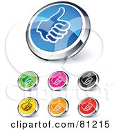 Digital Collage Of Shiny Colored And Chrome Thumbs Up Website Buttons