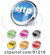 Royalty Free RF Clipart Illustration Of A Digital Collage Of Shiny Colored And Chrome Http Website Buttons