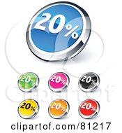 Digital Collage Of Shiny Colored And Chrome 20 Percent Website Buttons