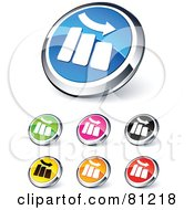 Royalty Free RF Clipart Illustration Of A Digital Collage Of Shiny Colored And Chrome Decrease Bar Graph Website Buttons