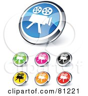 Royalty Free RF Clipart Illustration Of A Digital Collage Of Shiny Colored And Chrome Movie Camera Website Buttons