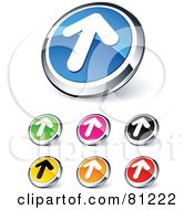 Digital Collage Of Shiny Colored And Chrome Solid Up Arrow Website Buttons
