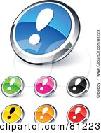 Digital Collage Of Shiny Colored And Chrome Exclamation Point Website Buttons