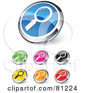 Digital Collage Of Shiny Colored And Chrome Magnifying Glass Website Buttons